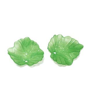 Frunza acrilica, frosted, verde deschis, 24x22x2mm 1 buc