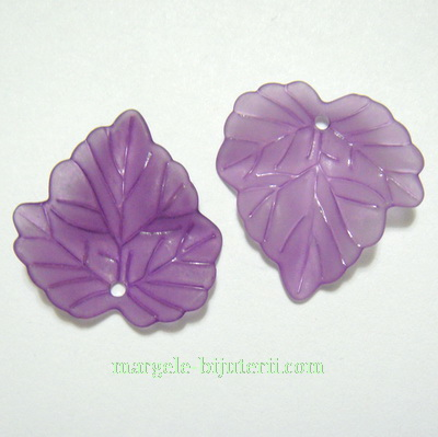 Frunza acrilica, frosted, violet, 24x22x2mm 1 buc