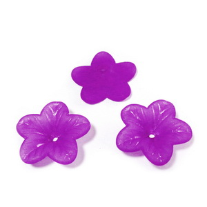 Flori acrilice, frosted, violet, 17x4mm 1 buc