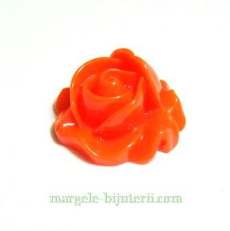 Cabochon rasina, floare portocalie, 16x9mm 1 buc
