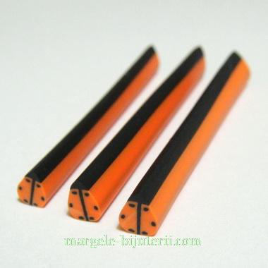 Bete fimo, buburuza portocalie, 50x3-6 mm 1 buc