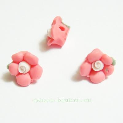 Margele portelan/cabochon, floare roz, 8~9x8~8.5x3.5~4mm 1 buc