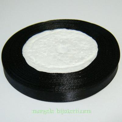 Saten negru,  10 mm, rola 22 metri 1 buc