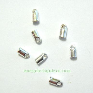 Capat prindere snur, argintiu, cilindric, 5x2.5mm 10 buc