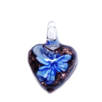 Pandantiv Murano negru cu floare albastra, inima 20x20x11mm 1 buc