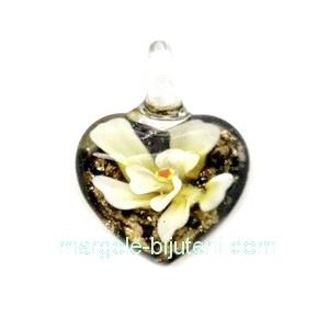 Pandantiv Murano negru cu floare aurie, inima 27x20x11mm 1 buc