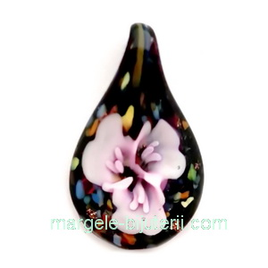 Pandantiv Murano negru cu floare mov, 33x20x10mm 1 buc