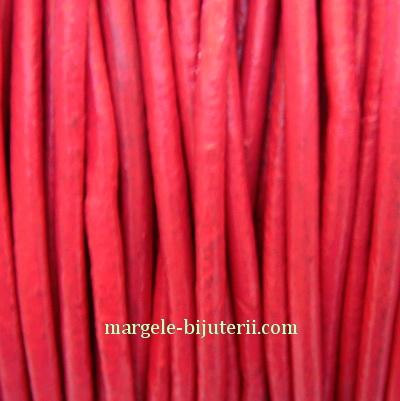 Snur piele naturala, roz, 2 mm 1 m