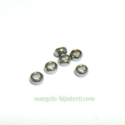 Margele otel inoxidabil, rondel, 3.5x2mm 1 buc