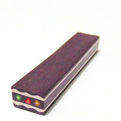 Bete fimo dreptunghilare, maro-roz, 10x7mm, lungime: 5cm 1 buc