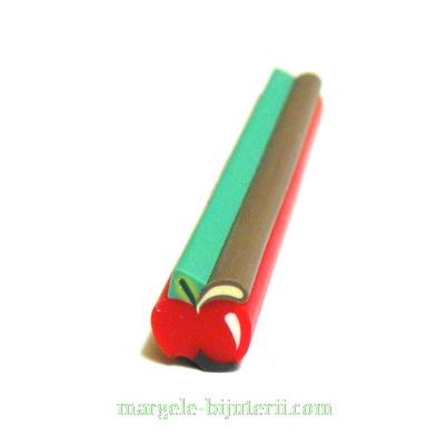 Bete fimo rosii, mar, 11x11mm, lungime: 5cm 1 buc