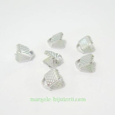 Capat prindere panglici, argintiu inchis, inaltime 8mm, latime6mm 10 buc
