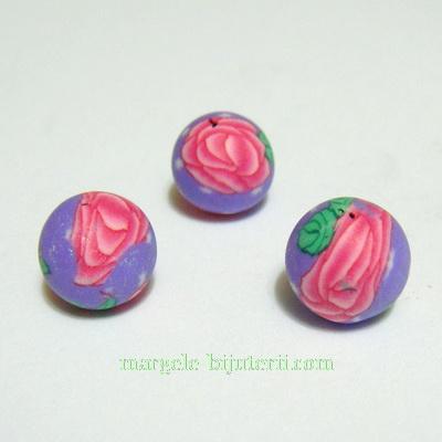 Margele fimo, mov cu flori roz, 10mm 1 buc