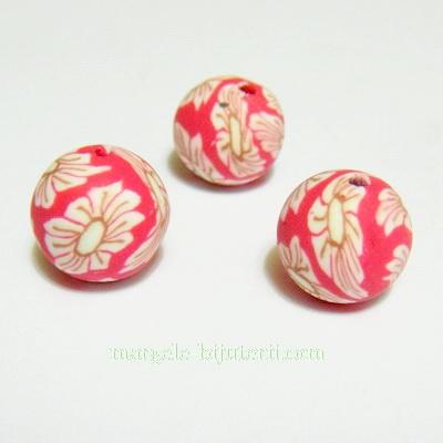 Margele fimo, rosii cu flori albe, 10mm 1 buc
