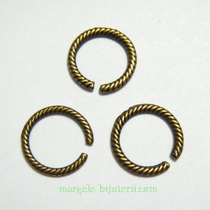 Zale/link, bronz-antic, 13x5mm 1 buc