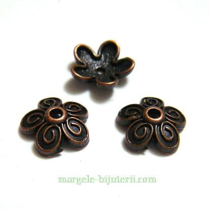 Capacel, stil tibetan, floare, cupru, 10x3.5mm 1 buc