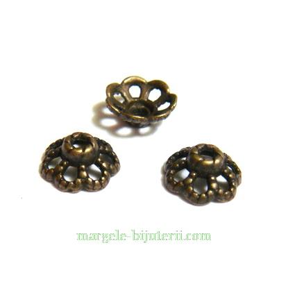 Capacel, bronz antic, 7 bucle, 9x4mm 1 buc