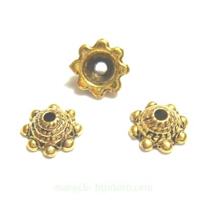 Capacel, auriu antic, floare 9x3.5mm 1 buc