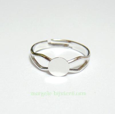 Baza inel, argintiu inchis, pe baza alama, platou 6mm 1 buc