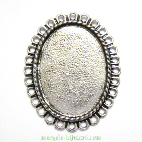 Conector / link cabochon, argint tibetan, 34x27x3mm, interior: 26x19mm 1 buc