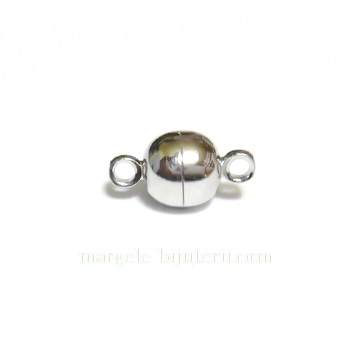 Inchizatoare magnetica, argintiu inchis, 11.5x6mm 1 set