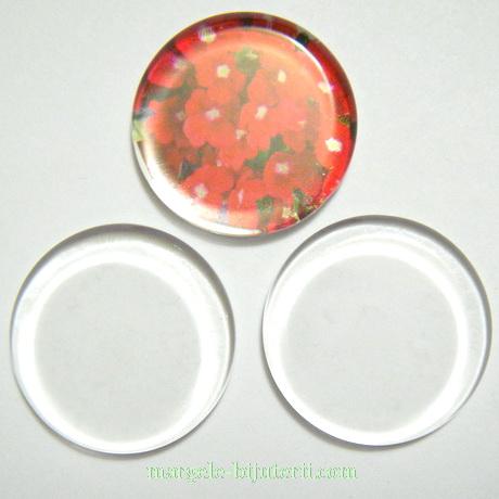 Cabochon sticla transparenta,PLATA, 25x4.5mm 1 buc