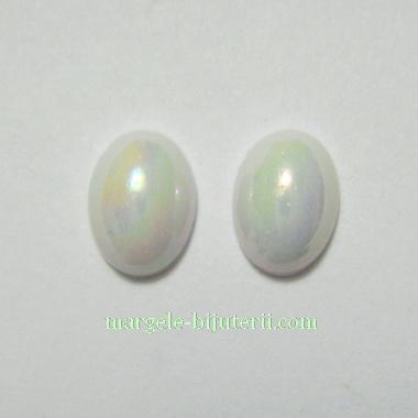 Cabochon sticla, albe, sidefate, ovale, 8x6x3mm 1 buc
