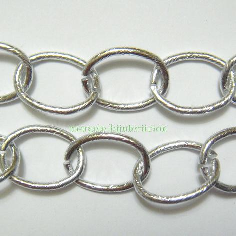 Lant aluminiu, argintiu, zale: 14x19mm 1 m