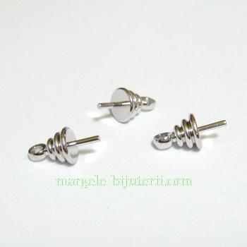 Accesoriu pandantiv/margele semigaurite, argintiu inchis, 9.5x5mm 1 buc