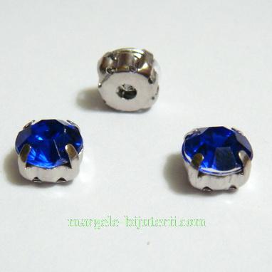 Margele montee rhinestone, plastic, albastre, 6x6x5mm 1 buc