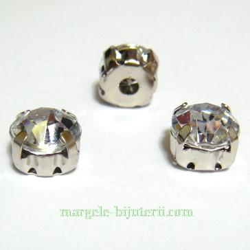 Margele montee rhinestone, plastic, transparente, 8x8x6mm 1 buc
