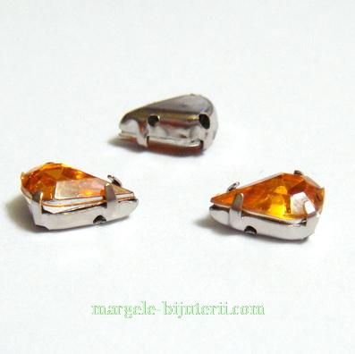 Margele montee rhinestone, plastic, portocalii, lacrima 10x6x5mm 1 buc