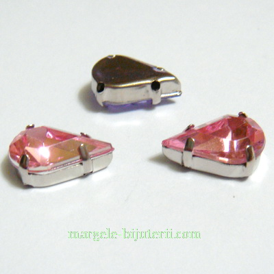 Margele montee rhinestone, plastic, roz deschis, lacrima 10x6x5mm 1 buc