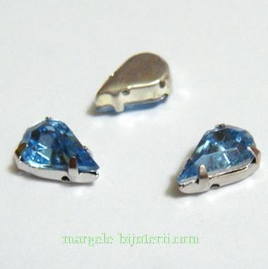 Margele montee rhinestone, plastic, bleu, lacrima 10x6x5mm 1 buc
