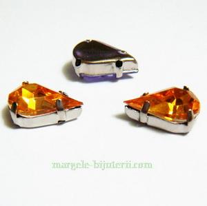 Margele montee rhinestone, plastic, portocalii, lacrima 13x8x5mm 1 buc