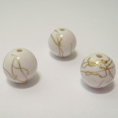 Margele plastic alb cu auriu 12mm 1 buc