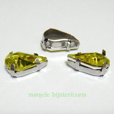 Margele montee rhinestone, plastic, galben-verzui, lacrima 13x8x5mm 1 buc