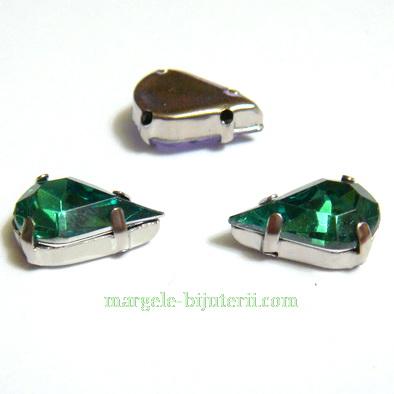 Margele montee rhinestone, plastic, verzi, lacrima 13x8x5mm 1 buc