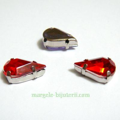 Margele montee rhinestone, plastic, rosii, lacrima 13x8x5mm 1 buc