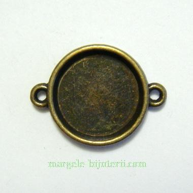 Conector / link cabochon, bronz, 29x21mm, interior: 18mm 1 buc