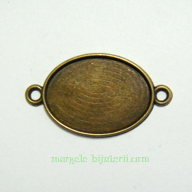Conector / link cabochon, bronz, 36x20mm, interior: 25x18mm 1 buc