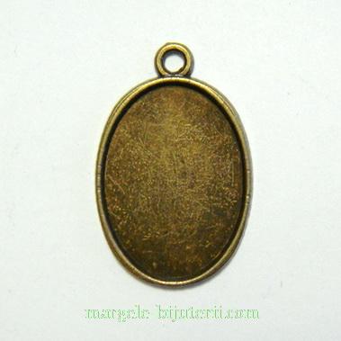 Pandantiv, cabochon, bronz, 25x15mm, interior: 18x13mm 1 buc