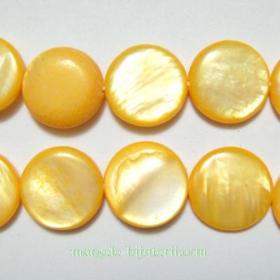 Perle sidef, plate, galbene, 13x3mm 1 buc