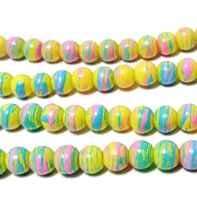 Margele sticla multicolore 6mm 10 buc