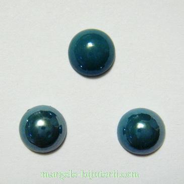 Cabochon sticla, verde smarald, sidefat, 8x4mm 1 buc