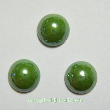 Cabochon sticla, verde-galbui, sidefat, 9.5x4mm 1 buc