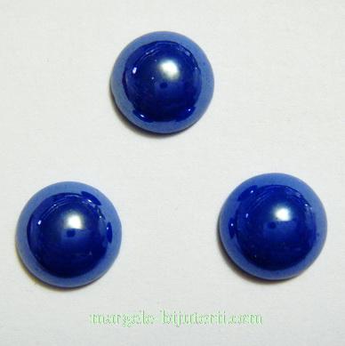 Cabochon sticla, albastru-cobalt, sidefat, 9.5x4mm 1 buc
