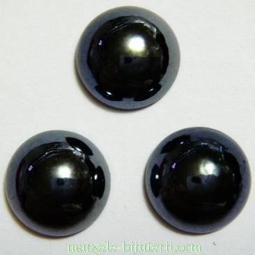 Cabochon sticla, negru, sidefat, 11.5x5mm 1 buc