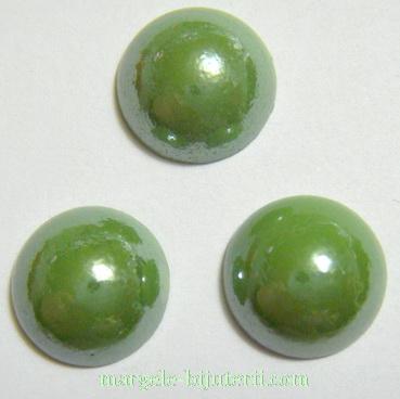 Cabochon sticla, verde deschis, sidefat, 11.5x5mm 1 buc