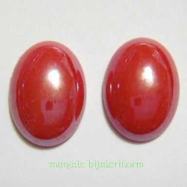 Cabochon sticla, rosu maroniu, sidefat, 18x13x5mm 1 buc